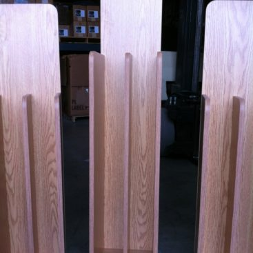 3 custom oak magazine stands in our warehouse