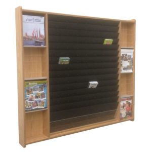 a tiered display that has a handful of brochures and magazines in it