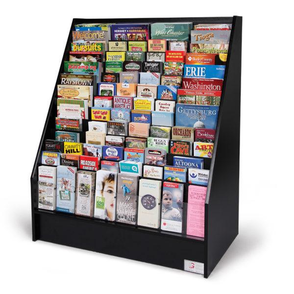 black floor standing literature rack full of brochures