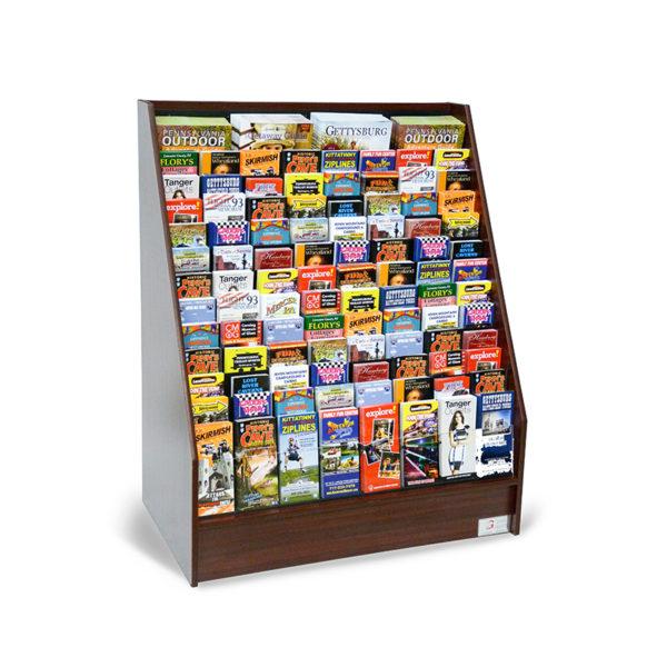 floor standing literature display rack full of travel brochures and magazines