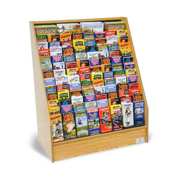 oak wood floor standing literature display rack full of travel brochures and magazines