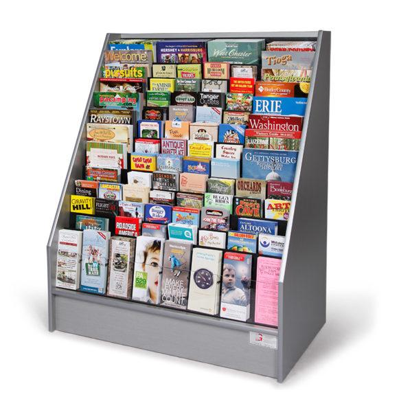 silver floor standing literature rack full of brochures