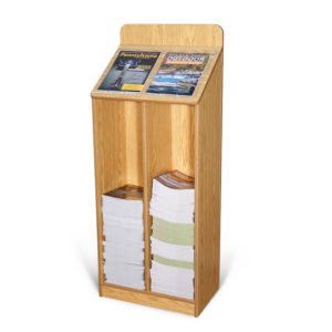 a large oak wooden magazine rack that has 2 different magazine options displayed and is partially full