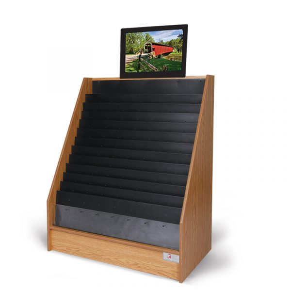 an advanced video display with a monitor above the oak display stand