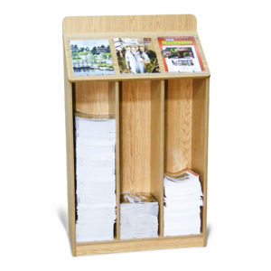oak floor standing wood magazine bin, partially filled with 3 various magazines