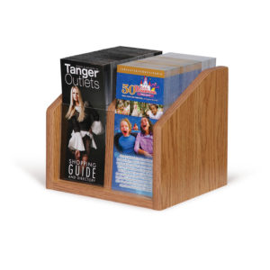 small oak wooden brochure holder for countertops, filled with 2 different brochures