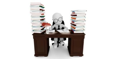 a 3d man sitting at a desk with piles of books