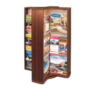 a spinning countertop brochure rack with various magazines and brochures