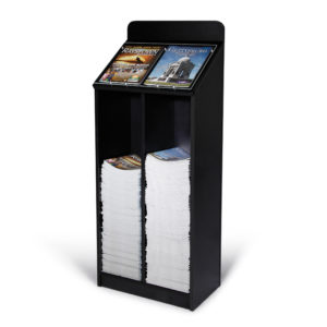 black floor standing wood magazine rack, partially filled with 2 different magazines