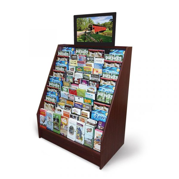 an advanced video display with a monitor above the mahogany display stand