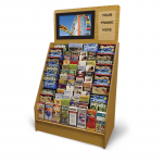 an advanced video display with a monitor and a section for your promo above the wooden display stand