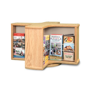 spinning oak countertop display stand