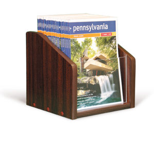 small mahogany wooden magazine holder for countertops, filled with magazines